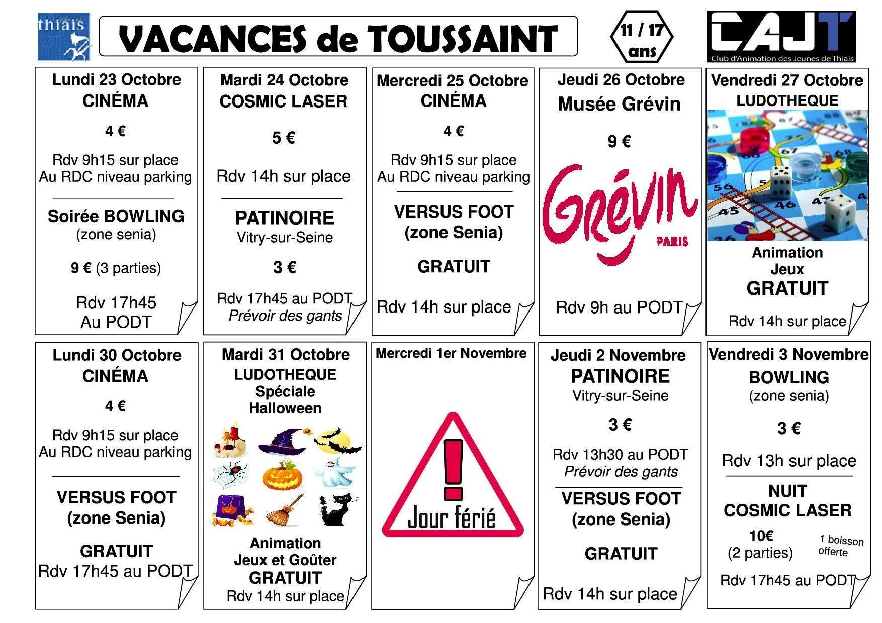 Planning vacances de toussaint 2017 club d 39 animation des - Les vacances de la toussaint 2020 ...