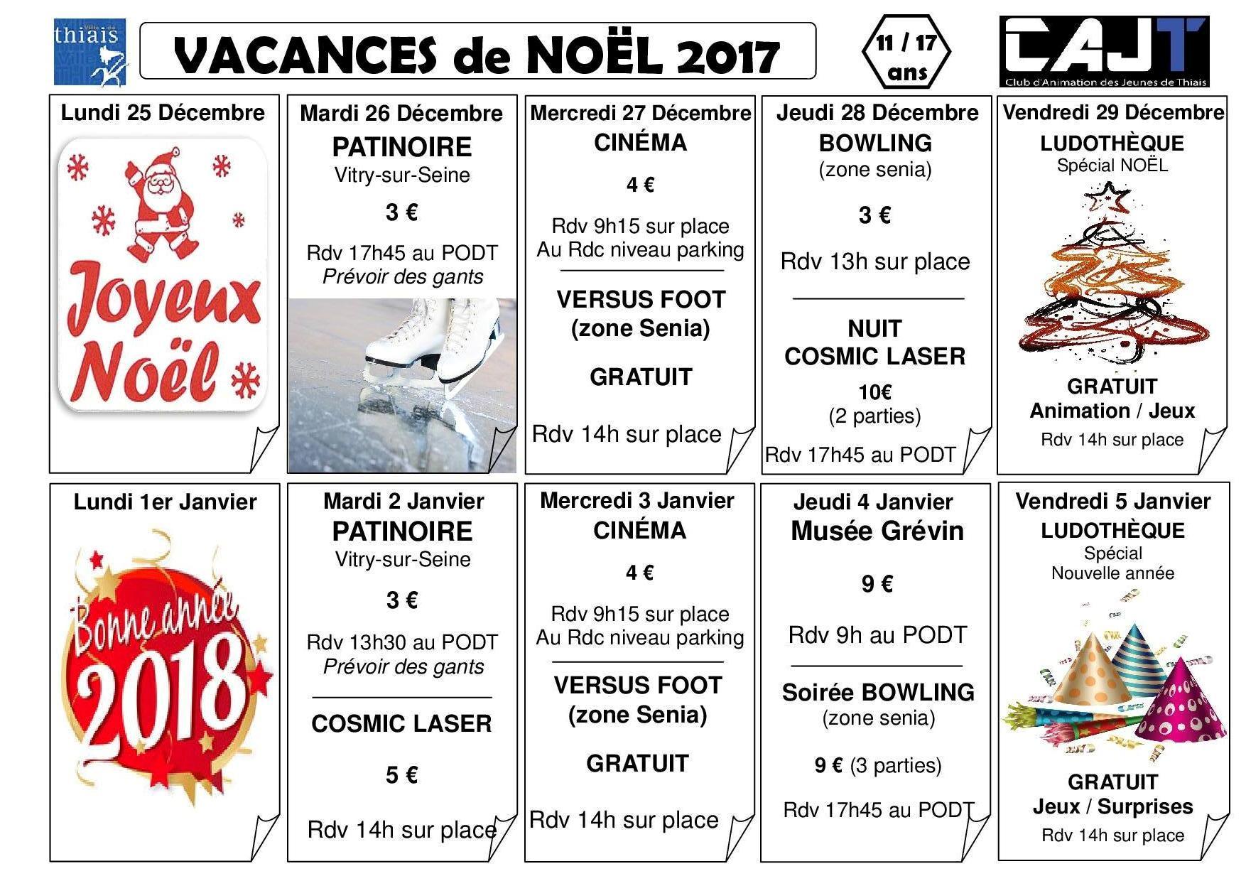 Planning vacances de no l 2017 club d 39 animation des jeunes de thiais - Date vacances noel 2017 ...