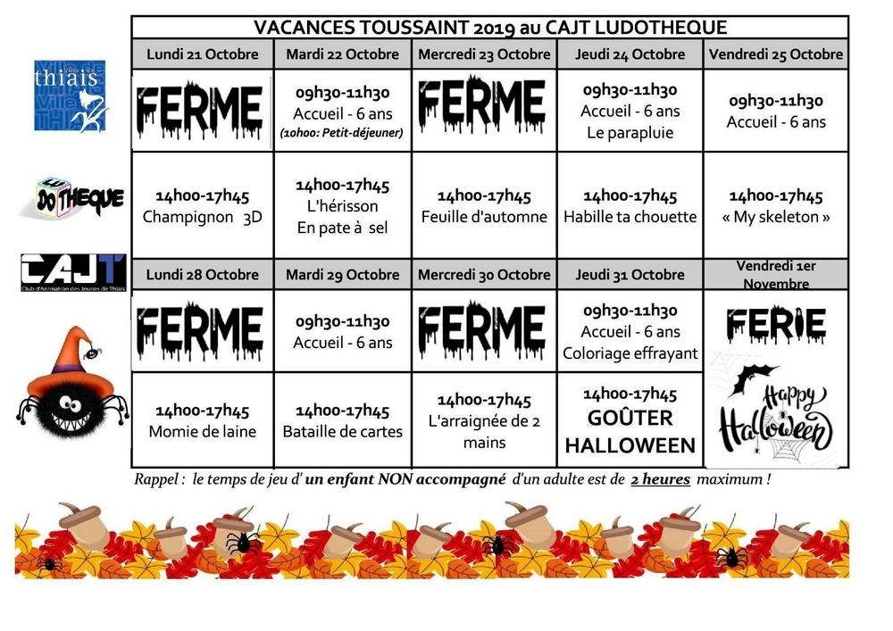 Planning des activit s de la ludoth que pour les vacances - Les vacances de la toussaint 2020 ...